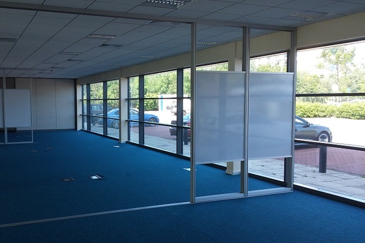 open plan sliding whiteboard screens