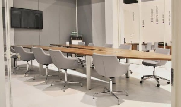 V shaped table for video conferencing