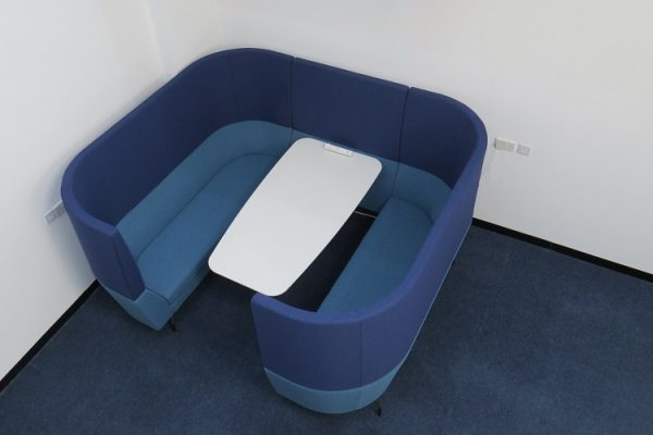 booth meeting pod with table